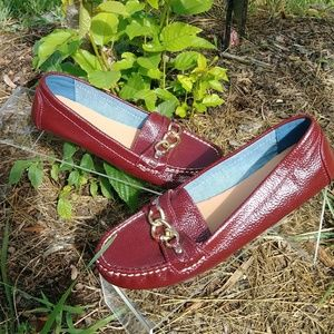 TH Faux Leather Brand Embellished Loafers